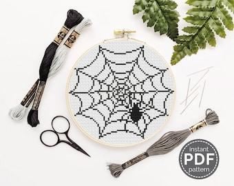 Spiderweb Cross Stitch Pattern Halloween Cross Stitch Pattern Cobweb Embroidery Spooky Cross Stitch Pattern Halloween Decor DIY Decor