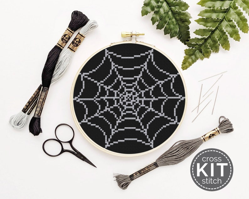 Spiderweb Cross Stitch Kit  Spooky Halloween Spider image 0