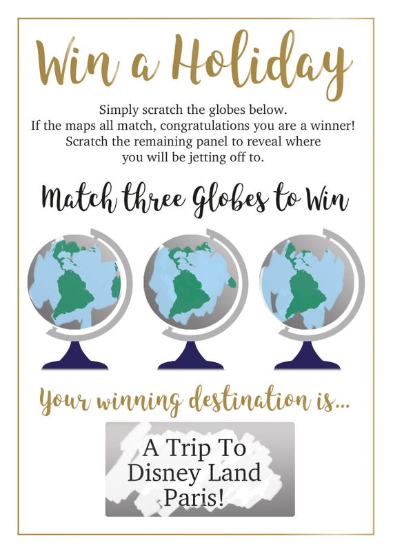 Scratch Reveal Holiday Scratch Card Personalised to your location. Scratch the globes. A6