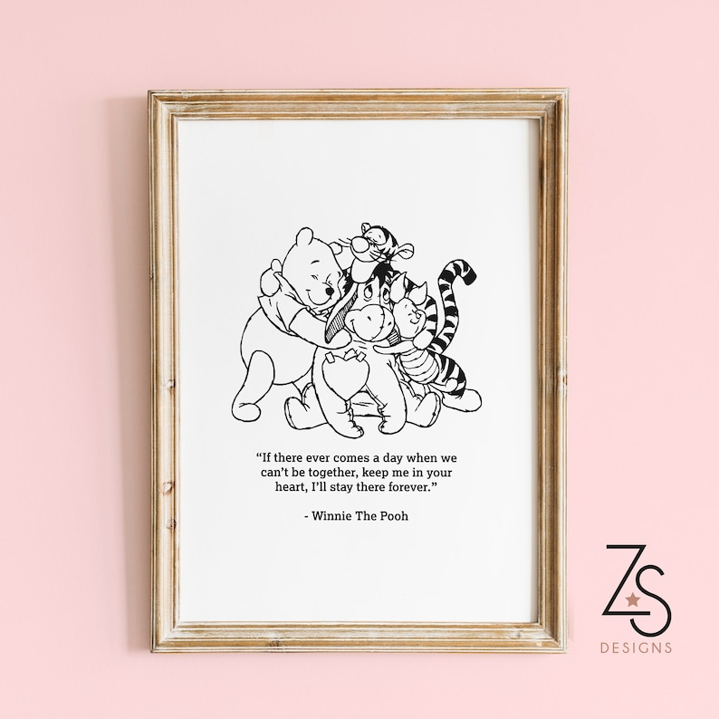 winnie the pooh and friends quote print multiple sizes a5