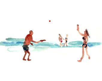 Beach Wall Art, Wall Art, Watercolor Digital Print, Seascape Print, People Sketch, Home Decor, Beach Art Sketch, Ocean Poster, Beach Sport