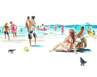 Beach Art Sketch, Instant Downloadable Artwork, Colored pencils Digital Print, Seascape Print, People Sketch, Home Decor, Beach Wall Art,