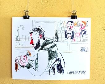 Coffee Shop Art, Home Decor, Wall Art, Urban Sketch, Food Sketch Print, Food Art, Digital Print, People Poster, Room Decor, Colored Pencils