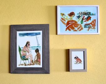 Set of 3 Beach Prints, Seascape Print, Sea Wall Art, Housewarming Gift, People Sketch, Home Decor, Beach Wall Art, Ocean Poster, Art Set