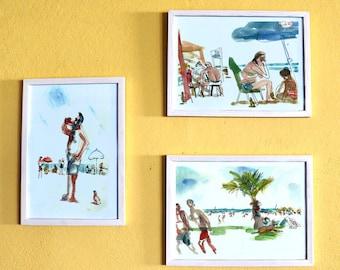 Set of 3 Beach Prints, Beach Lovers, Seascape Print, Sea Wall Art, Watercolor Print, People Sketch, Home Decor, Beach Wall Art, Ocean Poster