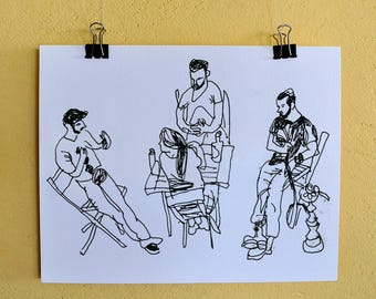 People Poster, People Portrait, People Sketch, Home Decor, Wall Art, Sketch Print, Gift Art, Digital Print, Room Decor