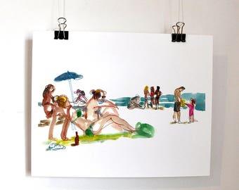 Girls on the Beach, Beach Wall Art, Seascape Print, Sea Wall Art, Watercolor Digital Print, People Sketch, Home Decor, Ocean Poster,
