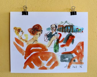 Beach Art Sketch, Ocean Poster, Sea Wall Art, Watercolor Sketch, Seascape Print, Digital Print, Home Decor, Beach Wall Art, Orange Wall Art