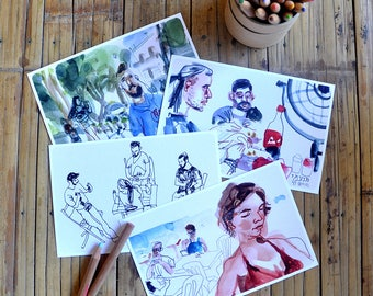 Illustrated Postcards (Set of 4), People Art Sketch, Stationary Art, Art Postcards, Gift Print, Stationary, Home Decor, Valentine's Day Gift
