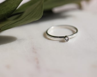 Sterling silver ring, Thin stackable ring with Swarovski crystal