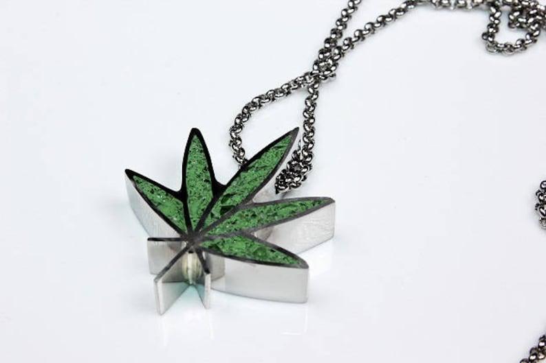 Concrete Glass pendant Marijuana Leaf Pendant Statement necklace Cannabis Necklace. Stainless Steel