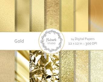 Gold digital paper - Gold clipart, Metallic Scrapbook paper, Gold Digital Paper, Gold Digital Paper, Gold Foil, Gold Glitter, Commercial use