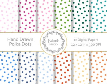 Polka Dot digital paper - clipart - Handdrawn Polka Dots - Digital Papers Scrapbook paper, Digital Paper, Printable Patterns, Commercial use