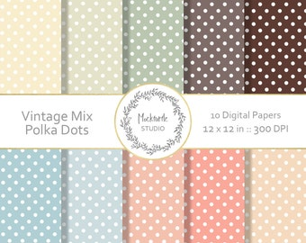 Polka Dot digital paper - clipart - Dotty Digital Papers Scrapbook paper - Vintage Digital Paper - Printable Patterns - Commercial use
