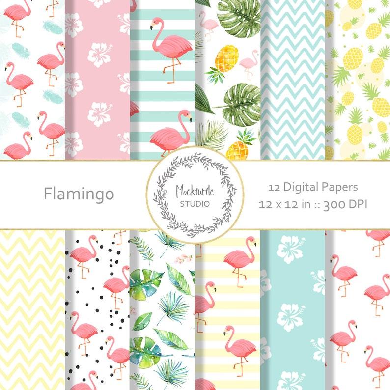 Flamingo Digital Paper Tropical Clipart Scrapbook Paper Etsy