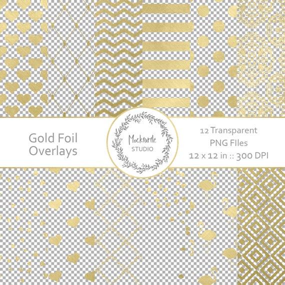 gold foil digital overlays transparent gold foil clipart etsy