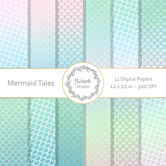 Mermaid Digital Paper Mermaid Scales Clipart Scrapbook Etsy