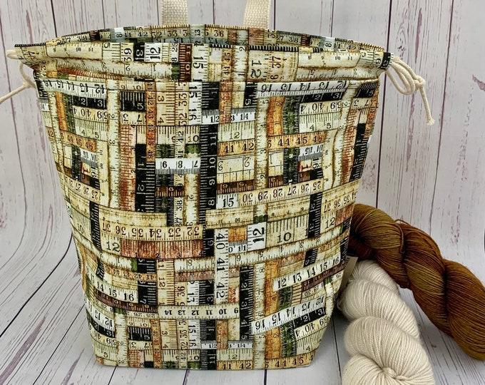 Natural Wood Ruler Bag, Twisted Bucket bag, Knitting project bag, Crochet project bag,  Project Bag, Yarn bowl, Large Project bag