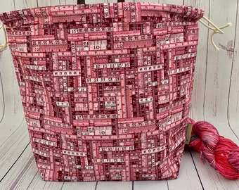Pink Rulers, Shweater bag, XL Project bag, Knitting bag, Crochet project bag,  Project Bag, Sweater knitting bag, Shawl Knittin