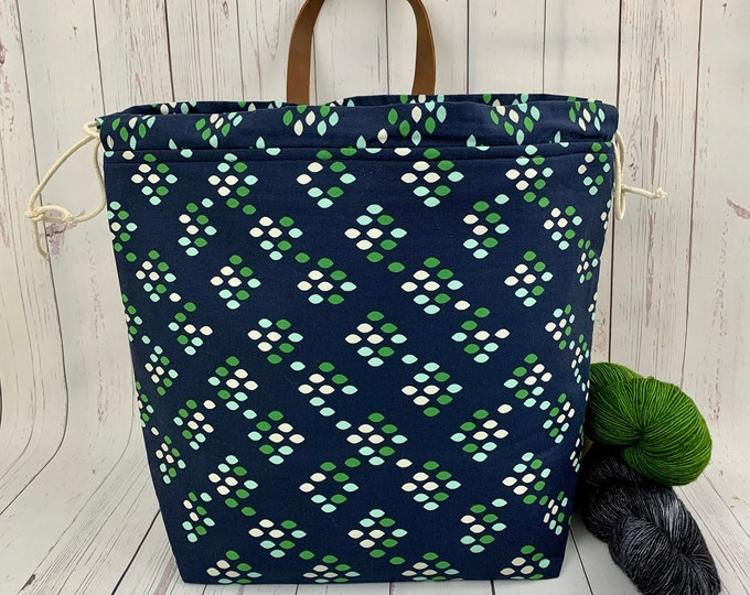 Navy Blue and Green Gradient, XL  Project bag, Knitting bag, Crochet project bag,  Project Bag, Yarn bowl, Sweater bag