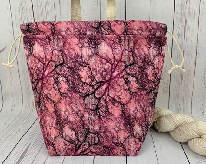 Rose Woods, Twisted Bucket bag, Knitting project bag, Crochet project bag,  Project Bag, Yarn bowl, Large Project bag