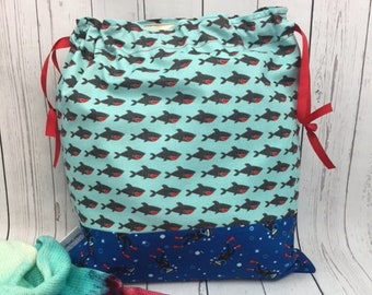 Shark Week Knitting bag and Shark Stitch Marker, Crochet Project Bag, Yarn Bag, Fiber Project Bag, Sock knitting bag, Shawl project bag