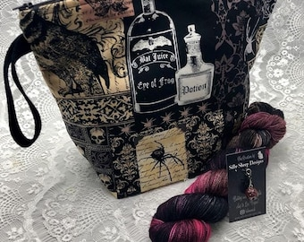 Special Halloween Collaboration -Edgar Allen Poe- Nevermore Set, Large Project Zipper bag / Hand Dyed yarn/ 2 Handmade Stitch Markers