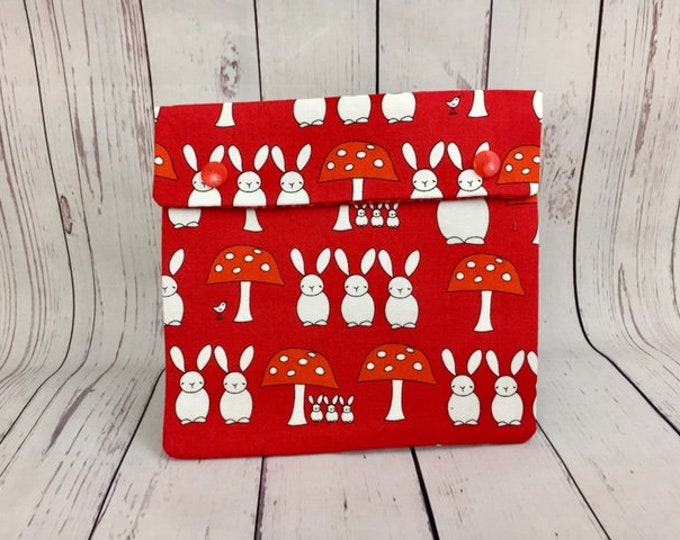 Bunnies and Mushrooms- Red,  Circular Knitting Needles Case or Knitting Notions Case, Crochet notions case, Accessories case, Circular Case