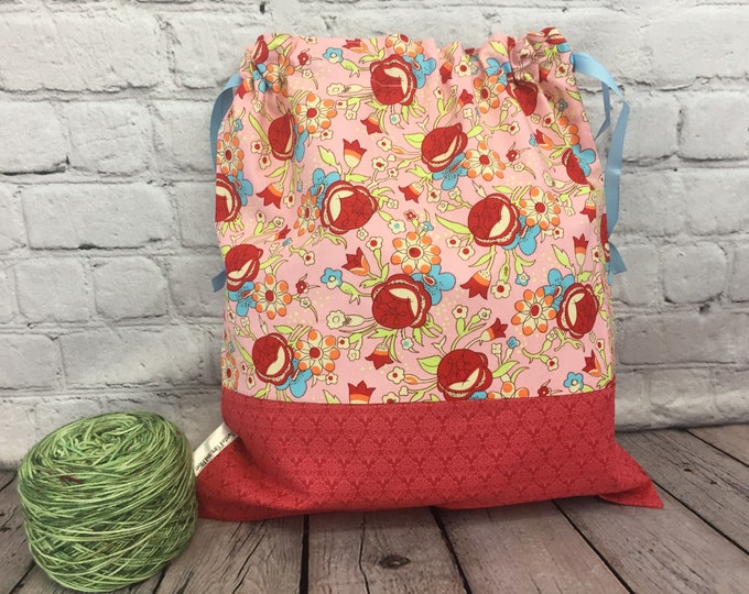 Flowers Knitting Project Bag, Crochet Project Bag, Yarn Bag, Fiber Project Bag, Sock knitting bag, Shawl project bag