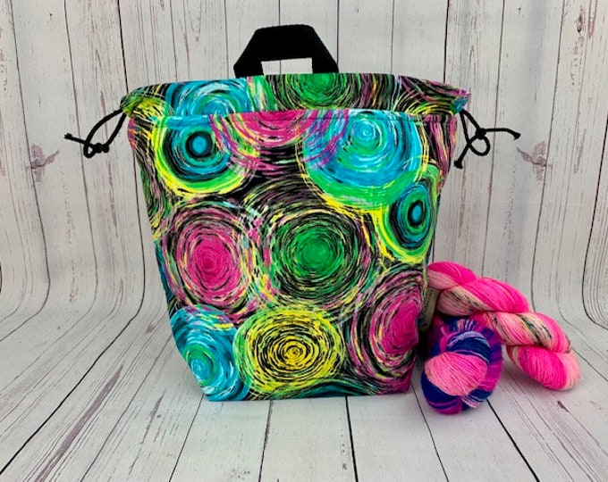 Yarn Cakes, Twisted Bucket bag, Knitting project bag, Crochet project bag,  Project Bag, Yarn bowl, Large Project bag