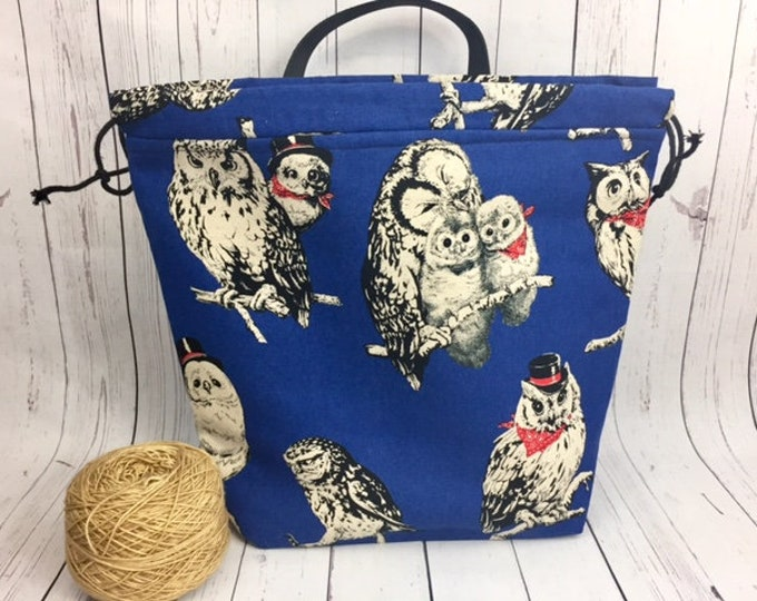 Owls Canvas Shweater bag, XL  Project bag, Knitting bag, Crochet project bag,  Project Bag, Yarn bowl
