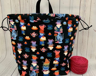 Time For Tea, Shweater bag, XL Project bag, Knitting bag, Crochet project bag,  Project Bag, Sweater knitting bag, Shawl Knitting bag