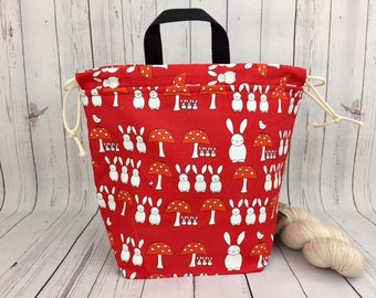 Bunnies and Mushrooms, Bucket bag, Knitting project bag, Crochet project bag,  Project Bag, Yarn bowl, Large Project bag