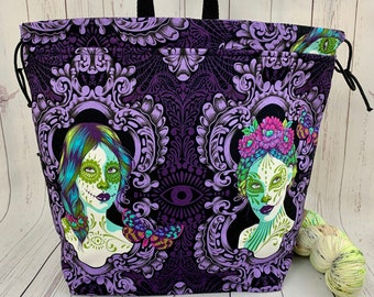 Moon Girl, Shweater bag, XL Project bag, Knitting bag, Crochet project bag,  Project Bag, Sweater knitting bag, Shawl Knittin