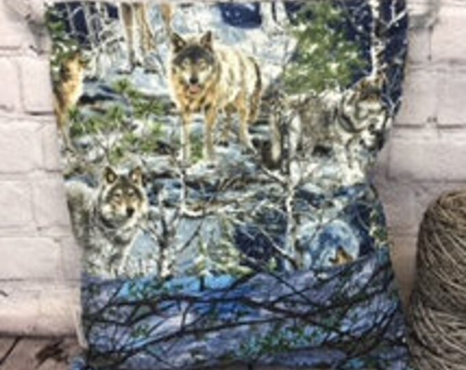 Wolves in Winter,  Knitting Project Bag, Crochet Project Bag, Yarn Bag, Fiber Project Bag, Sock knitting bag, Shawl project bag