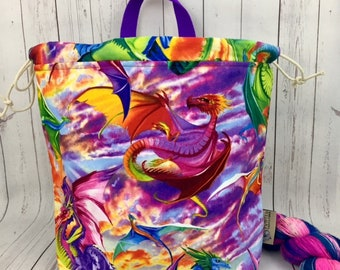 Rainbow Dragons, Shweater bag, XL  Project bag, Knitting bag, Crochet project bag,  Project Bag, Sweater knitting bag, Shawl Knitting bag