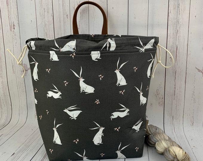 Pretty Rabbit, Shweater bag, XL Project bag, Knitting bag, Crochet project bag,  Project Bag, Sweater knitting bag, Shawl Knittin