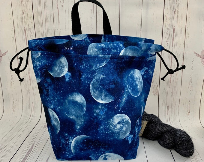 Full Moon Tonight, Twisted Bucket bag, Knitting project bag, Crochet project bag,  Project Bag, Yarn bowl, Large Project bag