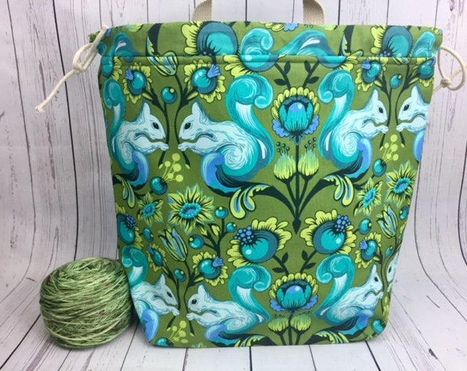 Squirrels Shweater bag, XL  Project bag, Knitting bag, Crochet project bag,  Project Bag, Yarn bowl