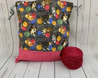 Cats and Yarn, Knitting Project Bag, Crochet Project Bag, Yarn Bag, Fiber Project Bag, Sock knitting bag, Shawl projec