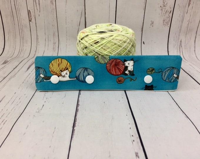 "Cats and Yarn - Blue, Circular Needle Progress Holder,  6-8"" DPN Progress Holder for Knitting, Needle Holder, Needle cozy"