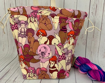 Beach Babes, Bucket bag, Knitting project bag, Crochet project bag,  Project Bag, Yarn bowl, Large Project bag