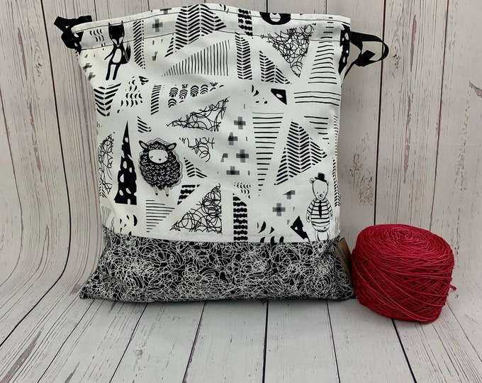 Deco Sheep and Friends,  Knitting Project Bag, Crochet Project Bag, Yarn Bag, Fiber Project Bag, Sock knitting bag, Shawl projec
