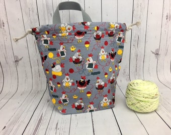 Knitting Chickens  Bucket bag, Knitting project bag, Crochet project bag,  Project Bag, Yarn bowl