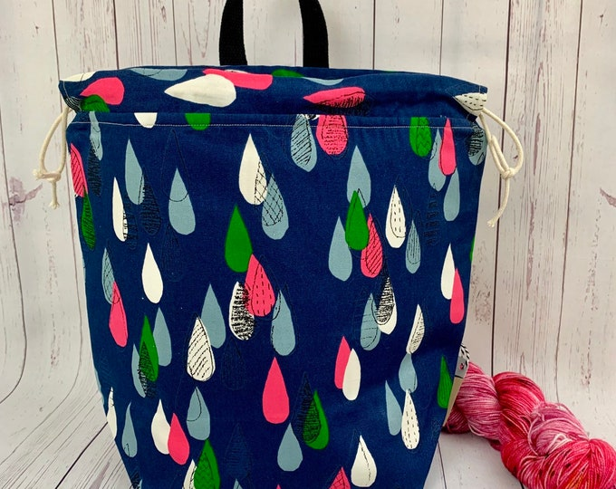 Raindrops, Twisted Work Bag, Large Canvas project bag w/ full length pocket, Shawl /Sweater Knitting, Crochet Project, Needle