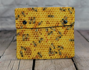 Honey Bees Circular Knitting Needle Case or Notions case for Knitting Notions, Circular Needle Case, Crochet notions case, Accessories case