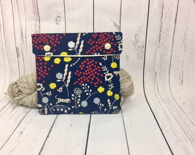 Floral Canvas,  Circular Knitting Needles Case or Knitting Notions Case, Crochet notions case, Accessories case, Circular Case