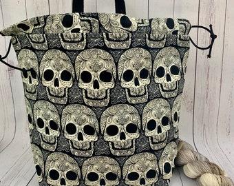Skulls, Shweater bag, XL Project bag, Knitting bag, Crochet project bag,  Project Bag, Sweater knitting bag, Shawl Knitting bag