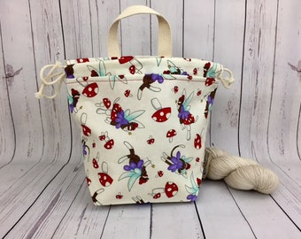 Fairy Sock Monkey, Shocks (Socks to Shawl Bag), Knitting project bag, Crochet project bag, Shawl knitting bag, Sock Knitting bag