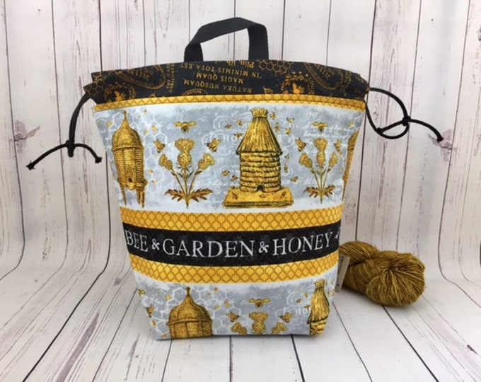 Honey Bee Garden, Twisted Bucket bag, Knitting project bag, Crochet project bag,  Project Bag, Yarn bowl, Large Project bag